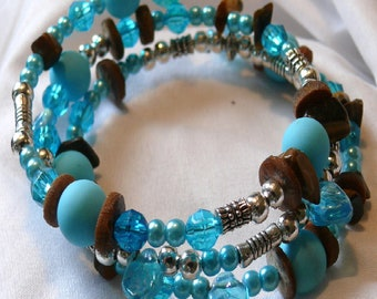 Bangle Style Bracelet - blue with brown beads