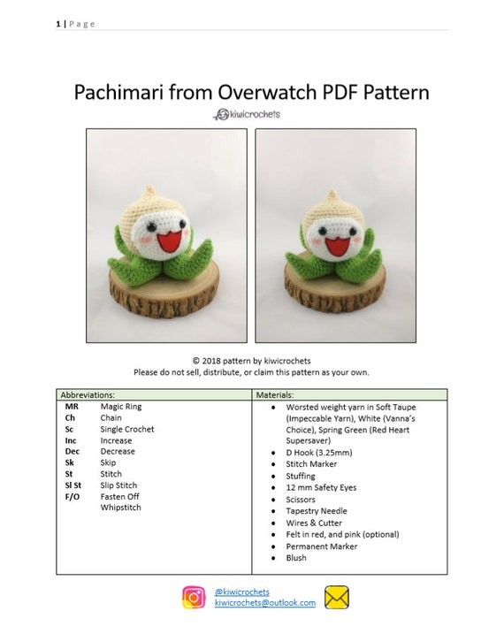 PATTERN Pachimari from Overwatch Amigurumi Crochet Pattern