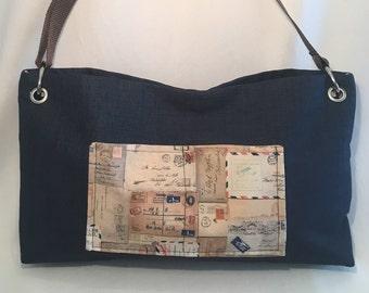 SALE!! Purse, Bag, Cross Body Bag, Teacher Bag, Hipster, High Quality Designer Fabric, Handbag, Blue, Browns & Tans, Postage Stamps