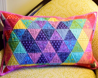 Tula Pink Triangle Rainbow Pillow Cover