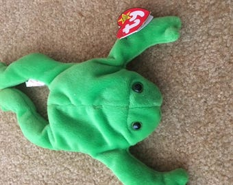 884930096a3 1st Generation Original Collectors TY Legs frog beanie baby DOB April 25