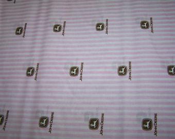 John Deere Pink Logo Ticking