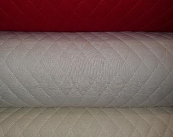 Quilted Fabric in White, Cream, Red. Great for Quilting, Crafts, Stockings, Sewing, Etc.