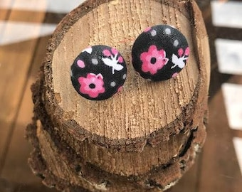 Pink Flowered and Dots Fabric Button Earrings