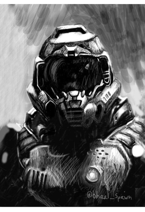 Print Original Digital Drawing Doom Slayer Sizes 8 Etsy