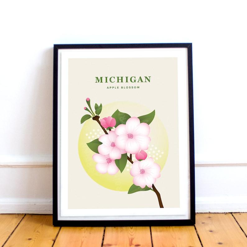 Michigan Flower Michigan Print \u2013 State Flower Poster Michigan Gift Michigan Poster UPDATED Midwest Travel Apple Blossom Illustration
