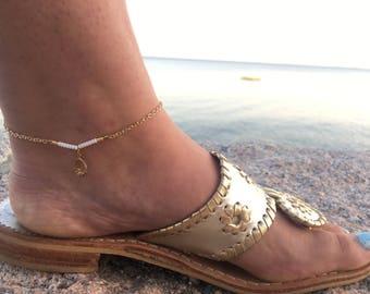 Beaded Anklet - Beaded Bar Anklet - Bar Anklet - Claddagh Charm Anklet - Claddagh Anklet - Ankle Bracelet