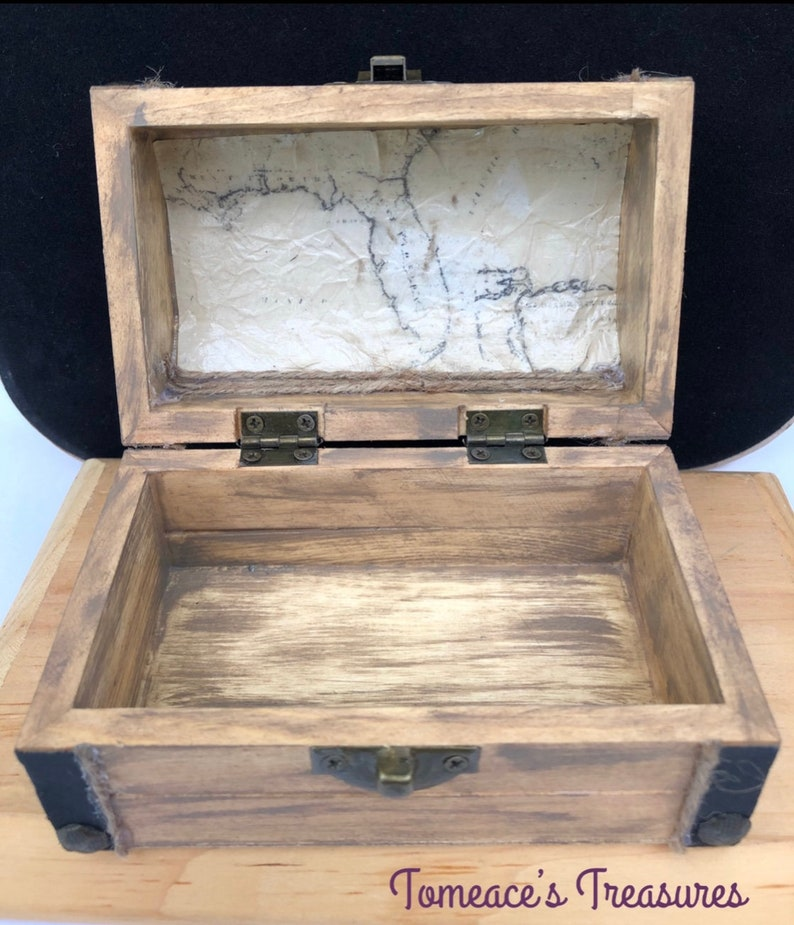 Captains chest Florida map Free shipping Handpainted Anniversary Trinket box birthday for son For Her for him Treasure chest jewelry box