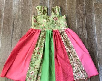 Cute spring/summer little girls dress, pink and green little dress-little girl panel dress 2t, 2 toddler
