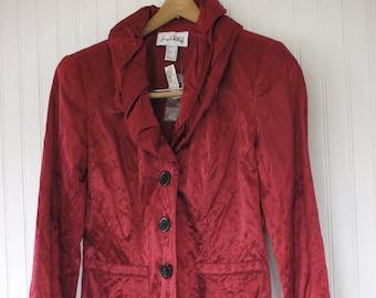 Vintage Size M 90s Shiny Blazer Red Maroon Joseph Ribkoff Jacket Coat Ruffles Evening Medium  - New With Tags Party 80s Goth