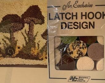 Vintage Latch Hook Rug Kit Mushroom Shrooms Craft Kits Boho Crafters Yarn Field Of Mushrooms Neutral Home Decor
