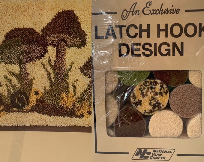 Vintage Latch Hook Rug Kit Mushroom Shrooms Craft Kits Boho Crafters Yarn Field Of Mushrooms Neutral Home Decor