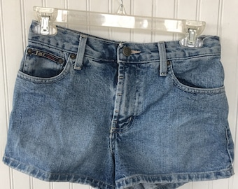 Vintage 90s LEI Denim Blue Jean Short Shorts Daisy Dukes Festival Grunge Size 1 Light Wash XS 0 2 S Nineties