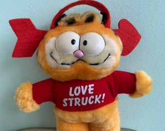 Vintage 80s Garfield Love Struck Window Cling Plush Doll Stuffed Animal Toy Valentine Rare Gift Eighties Cat Car Windows Valentines Cartoon
