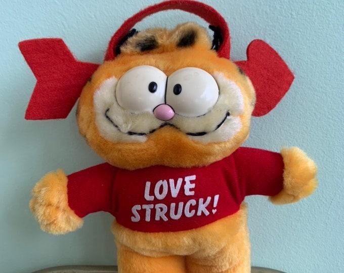 Vintage 80s Garfield Love Struck Window Cling Plush Doll Stuffed Animal Toy Valentine Rare Gift Eighties Cat Car Windows Valentines Cartoon