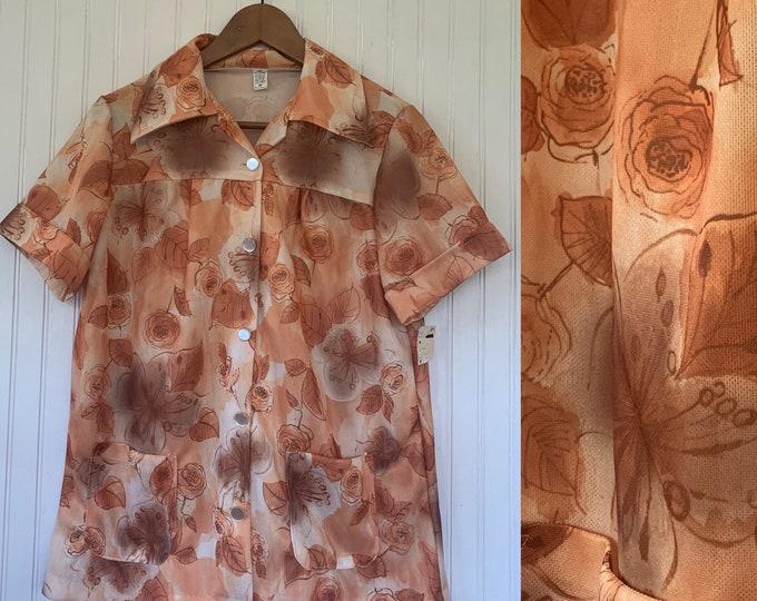 Vintage Deadstock Brown Floral Smock Top Large M/L Medium Med Shirt Short Sleeve Flowers Polyester Wide Collar Pockets 70s 80s 36 Earth Tone