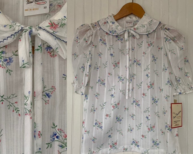 Vintage NWT 80s Vintage Floral White Puff Sleeve Ruffle Sheer Shirt Size Button Down Shirt 70s Deadstock Boho L Medium M/L Tie Front Med M