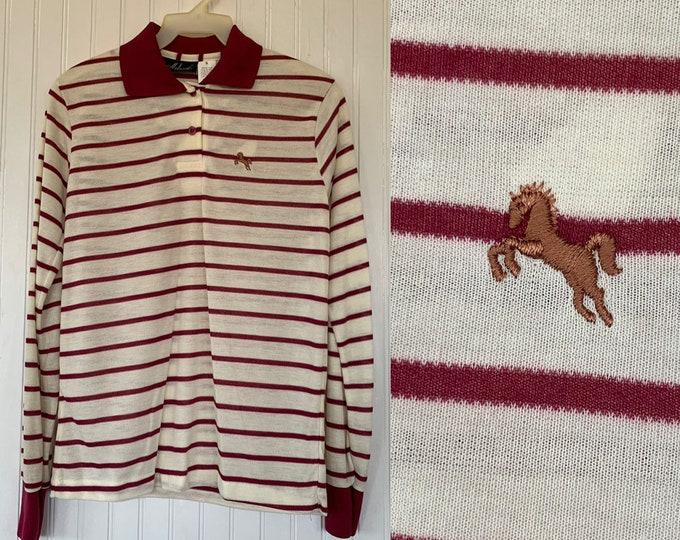 NWT 80s Vintage Garan Rust Dark Red Off Striped Long Sleeve Polo Shirt Small Top Deadstock Preppy Eighties XS S XS/S Horse Logo Hipster