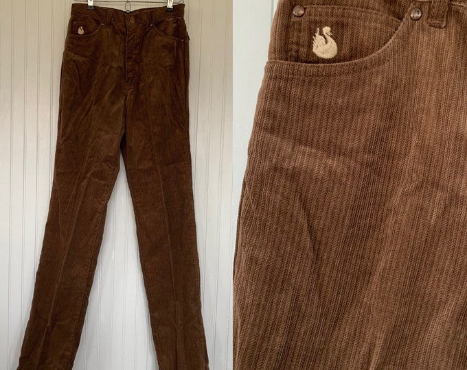 Vintage 70s 26 waist Gloria Vanderbilt Brown Corduroy Pants High Waisted Jeans Velvet NOS Xs Small 2 Trousers Seventies Deadstock
