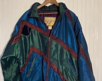 Vintage 90s Izzi Sik Coat Nylon Puffer Shiny Jacket Large Nineties Coats LG Blue Green Maroon Gold Winter Gear Mom Hipster Windbreaker
