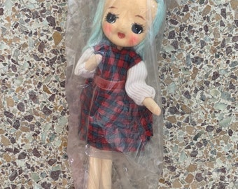 New 60s Vintage Car Mascot Doll Japan Adorable Kitsch Toys Original Packaging Kawaii Girls Dolls Blue Hair Plaid Dress Red Shoes Gift Rare