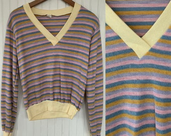 NWT Vintage 80s Striped Shirt Pastel Pink Gray Teal Tan Sweater Large L Long Sleeves Shirt Deadstock Top Valentines Vneck