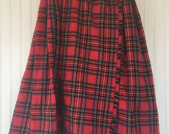 Vintage 70s XS XXS Red Plaid Tartan Wrap Skirt Kilt Handmade Fringed Below Knee VTG Seventies Holiday Dance Party Christmas