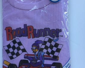 NEW Size 3 3T Toddler Baby Unisex Kids Road Runner Cartoon Thermal Waffle Knit Set 1980s Light Purple Warner Brothers Early 80s