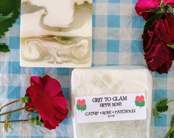 Grit to Glam Hippie Rose Catnip Rose Patchouli Hemp Farm Made Soap Moisturizing Anti-Aging Rosacea Eczema Bar for Facr and Body