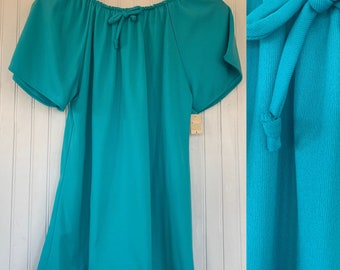 Vintage Deadstock 70s Medium Turquoise Blue Peasant Top M Small S/M 70s nos Tops Med Short Sleeves 36 bow Boho Blouse 80s