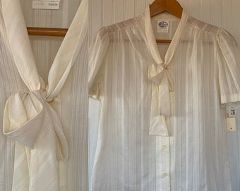 Vintage NWT 80s Vintage Ivory Off White Puff Sleeve Ruffle Sheer Shirt Size Medium M M/L 36 Button Down 70s Deadstock Boho Tie Med Secretary