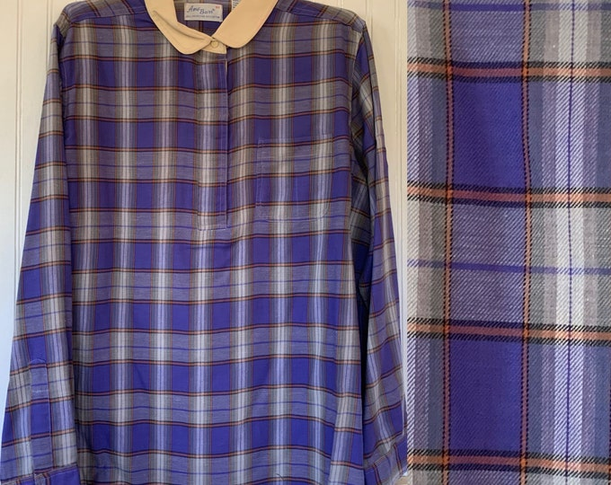 NWT Vintage 80s Large Plaid Flannel Long Sleeve Shirt 42 XL Top Purple Orange White Snap Down Shirt L/XL Deadstock Western Fall Amy Barr