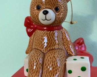 Vintage 80s Ebeling and Reuss Teddy Bear Presents Ornament First Christmas 1985 New in Box Kitsch Holiday Ornaments Gifts Japan