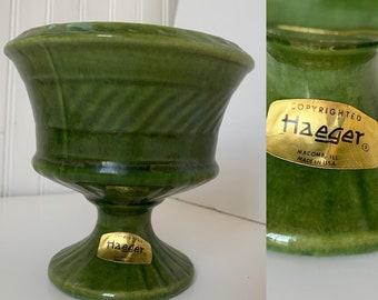 Vintage 60s Haeger Avocado Green Planter Vase Pedestal Small Home Decor Wedding Gift Vases Mod Mid Century Indoor Plant Serving Dish