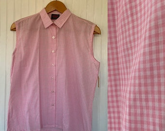 NWT 80s Vintage Gingham Pastel Pink White Sleeveless Top Size Large M/L Sheer Button Down Shirt 40 L Deadstock nos 70s Festival Plaid