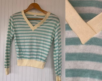 NWT Vintage 80s Striped Shirt Pastel Mint Green White Ivory Sweater Medium Med M Long Sleeves Shirt Deadstock Top Valentines Vneck 70s Disco