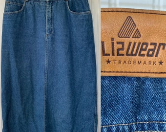 NWT Vintage early 90s Liz Wear High Waisted Jean Skirt Medium 10 30 waist Denim Medium Blue Liz Claiborne Jeans