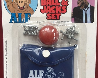 80s Vintage New in Package Original Alf Ball and Jacks Toy Set Eighties Toys TV Show Deadstock Games 1987
