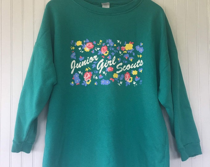 Vintage 90s Junior Girl Scouts Green Sweat Shirt Large Rare Leader Top Sweatshirt Sweater L XL LG