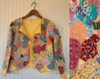 Vintage Yellow Hearts Patchwork Quilted Jacket Embroidered Butterfly Shirt Kitsch Boho Kittens Handmade Large Medium M L Valentine Rainbow