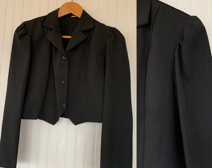 NWT Vintage 80s Black Cropped Blazer Puff Sleeves Medium Med M S/M Deadstock Goth Pinup Crop Jacket