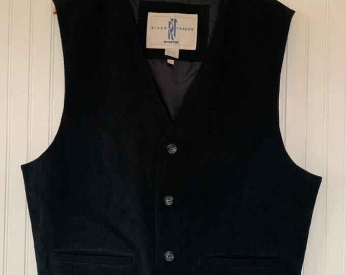 Vintage 90s Black Suede Vest Large L Nineties Leather Boho Western Biker Vests