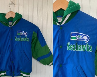 Vintage 80's Kids Seahawks Coat NFL Blue Green Seattle Jacket Hooded Sea Hawks Jacket Size 6 Childrens Clothes Rare Stadium Apparel Small
