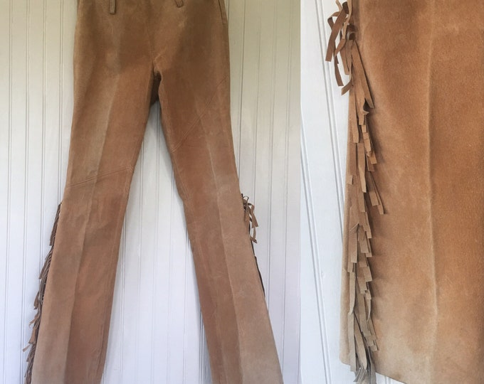 Vintage 90s Size 5/6 Medium Small Light Brown Suede Fringed Leather Pants Fringe Rare Western Biker Motorcycle Moto Nineties Nude Festival