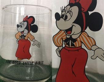 Vintage 60s 70s Minnie Mouse Treat Jar Glass Container Disney Memorabilia Collector Good Girls Vase Kids Decor Cartoon Mickey
