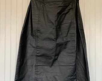Vintage 90s Large Black Leather Midi Skirt Leather Knee Length Biker L 30 waist Medium M/L pinup high waist 13/14 Winlit