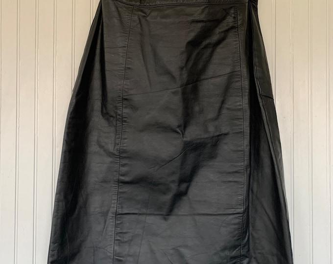 Vintage 90s Large Black Leather Midi Skirt Leather Knee Length Biker L 30 waist Medium M/L pinup high waist 13/14 Winlit