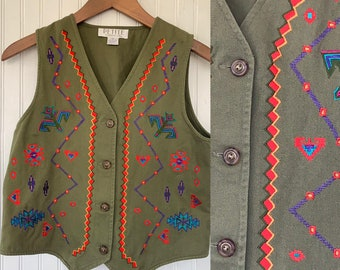Vintage 90s Embroidered Army Green Vest Rainbow Embroidery Festival Boho P XS S Small Top Olive Bohemian Nineties