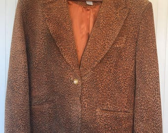 Vintage 90's Leather The Limited Size L Leopard Print Blazer Animal Printed Suede Jacket Leather Coat 90s Nineties Large also Fits Medium M