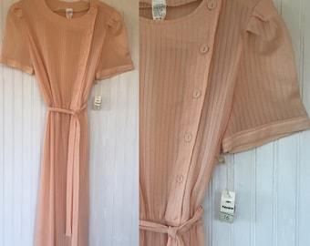 Vintage NWT 70s Pastel Peach Sheer Dress Size Medium  Pinup Summer Festival Boho 1979 Deadstock Wedding Bridesmaid Dresses M Med Puff Sleeve